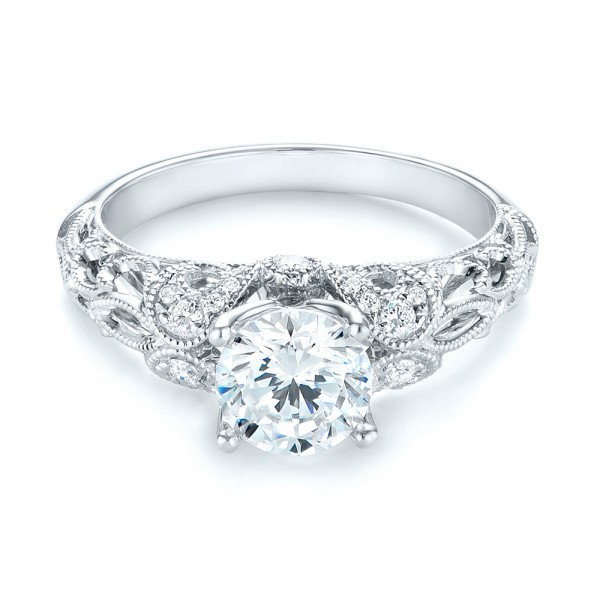 Filigree Diamond Engagement Ring - Laying View