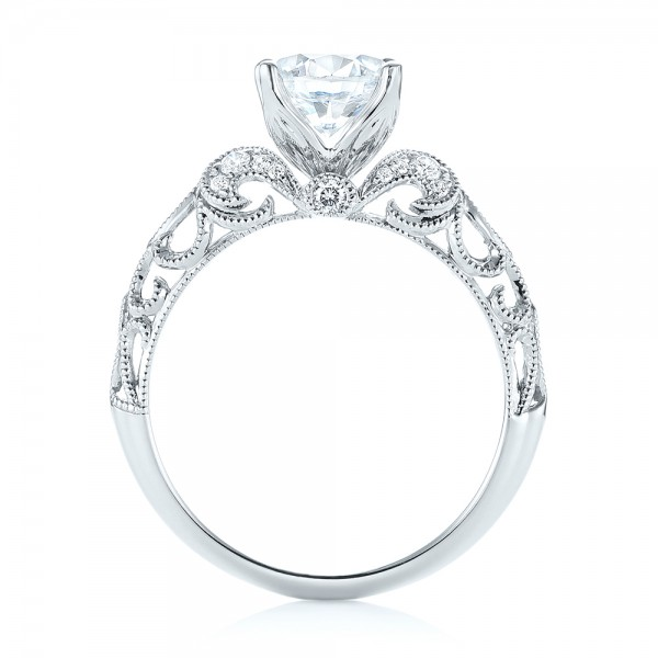 Filigree Diamond Engagement Ring - Finger Through View