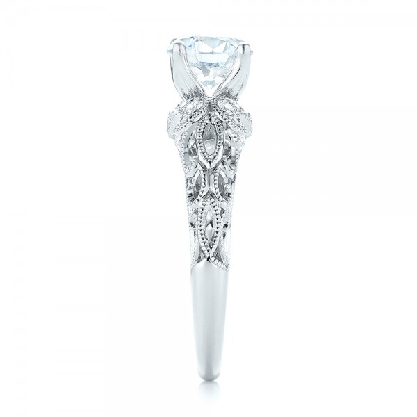 Filigree Diamond Engagement Ring - Side View