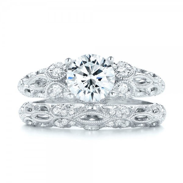 Filigree Diamond Engagement Ring - Top View