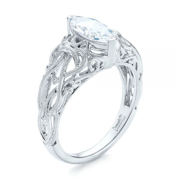 Filigree Marquise Diamond Solitaire Ring - Image