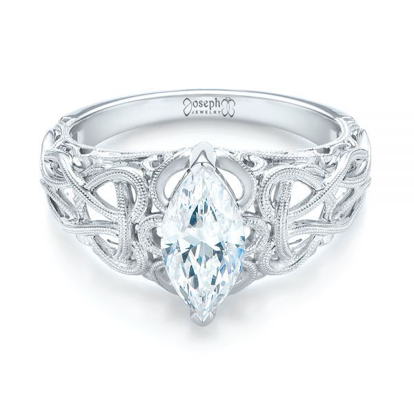 18k White Gold Filigree Marquise Diamond Solitaire Ring - Flat View -  103895