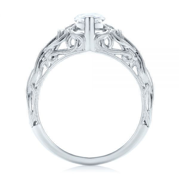 18k White Gold Filigree Marquise Diamond Solitaire Ring - Front View -  103895