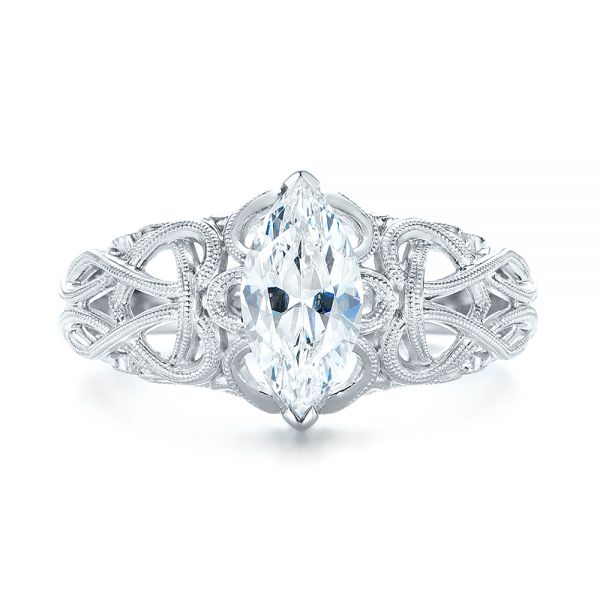18k White Gold Filigree Marquise Diamond Solitaire Ring - Top View -  103895
