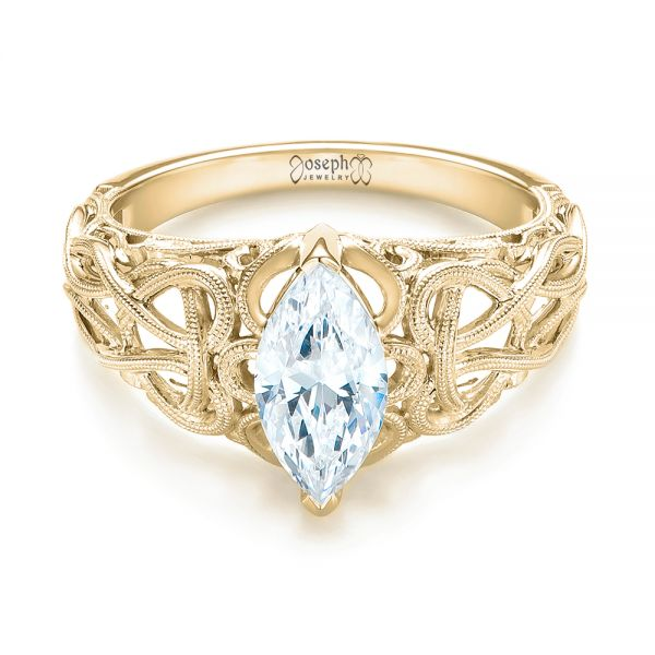 Filigree Marquise Diamond Solitaire Ring