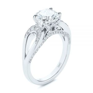 Filigree Split Shank Diamond Engagement Ring - Image