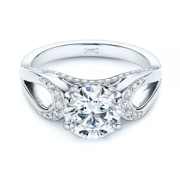 Filigree Split Shank Diamond Engagement Ring
