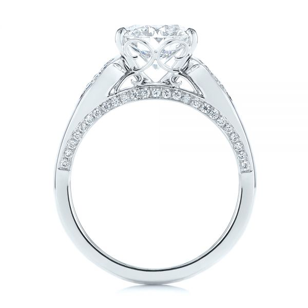 14k White Gold Filigree Split Shank Diamond Engagement Ring - Front View -  105194 - Thumbnail
