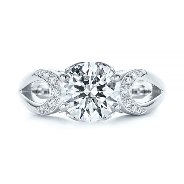 14k White Gold Filigree Split Shank Diamond Engagement Ring - Top View -  105194 - Thumbnail