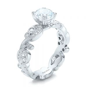 Filigree and Diamond Engagement Ring - Kirk Kara - Image