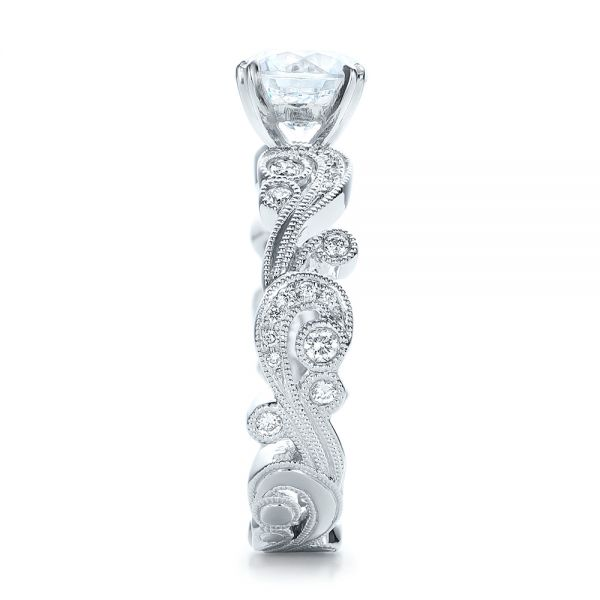 Filigree and Diamond Engagement Ring - Kirk Kara - Side View -  100890 - Thumbnail