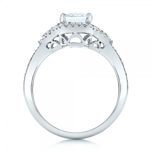 Five Stone Diamond Engagement Ring - Finger Through View