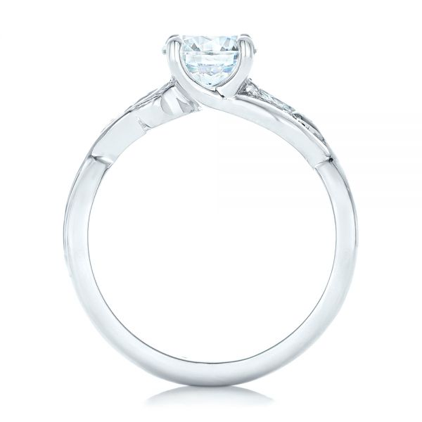 Floral Diamond Engagement Ring - Front View -  102241 - Thumbnail
