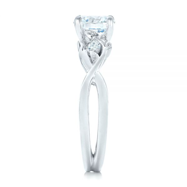 Floral Diamond Engagement Ring - Side View -  102241 - Thumbnail