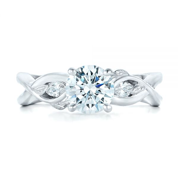 Floral Diamond Engagement Ring - Top View -  102241 - Thumbnail