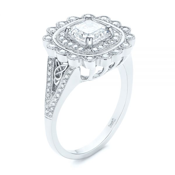 Floral Double Halo Celtic Knot Diamond Engagement Ring - Image