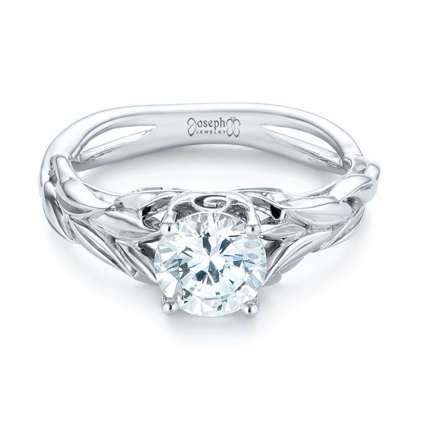 18k White Gold Floral Solitaire Diamond Engagement Ring - Flat View -