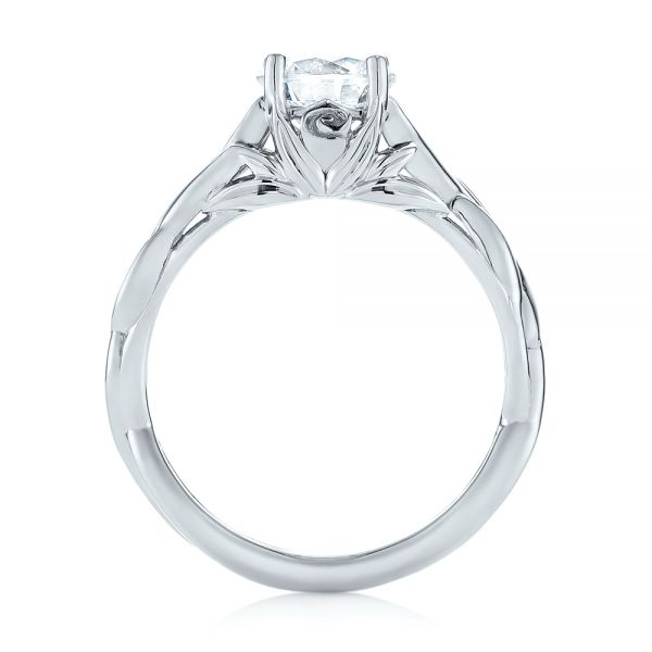 18k White Gold Floral Solitaire Diamond Engagement Ring - Front View -
