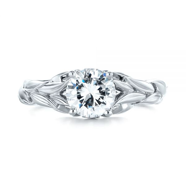 18k White Gold Floral Solitaire Diamond Engagement Ring - Top View -
