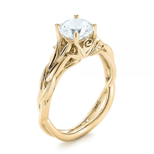 14k Yellow Gold 14k Yellow Gold Floral Solitaire Diamond Engagement Ring - Three-Quarter View -