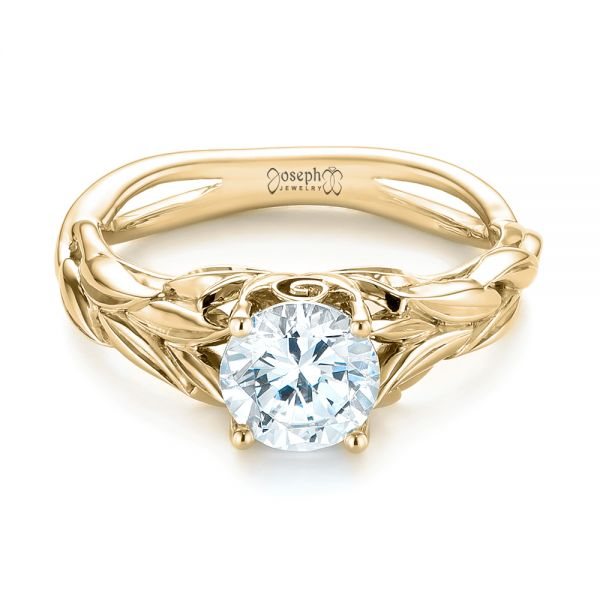 14k Yellow Gold 14k Yellow Gold Floral Solitaire Diamond Engagement Ring - Flat View -