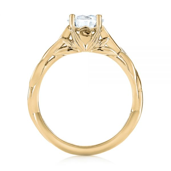 14k Yellow Gold 14k Yellow Gold Floral Solitaire Diamond Engagement Ring - Front View -