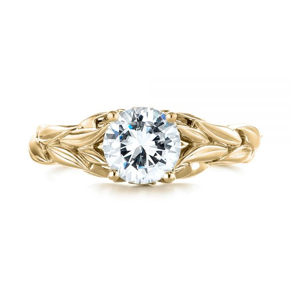 14k Yellow Gold 14k Yellow Gold Floral Solitaire Diamond Engagement Ring - Top View -