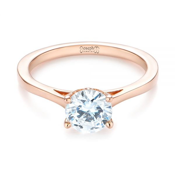 14k Rose Gold Floral Solitaire Diamond Engagement Ring - Flat View -
