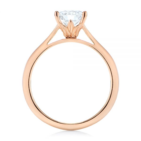 14k Rose Gold Floral Solitaire Diamond Engagement Ring - Front View -
