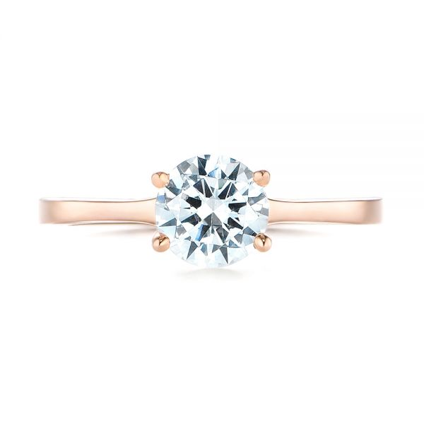 14k Rose Gold Floral Solitaire Diamond Engagement Ring - Top View -