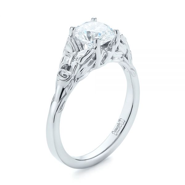 Floral Solitaire Diamond Engagement Ring