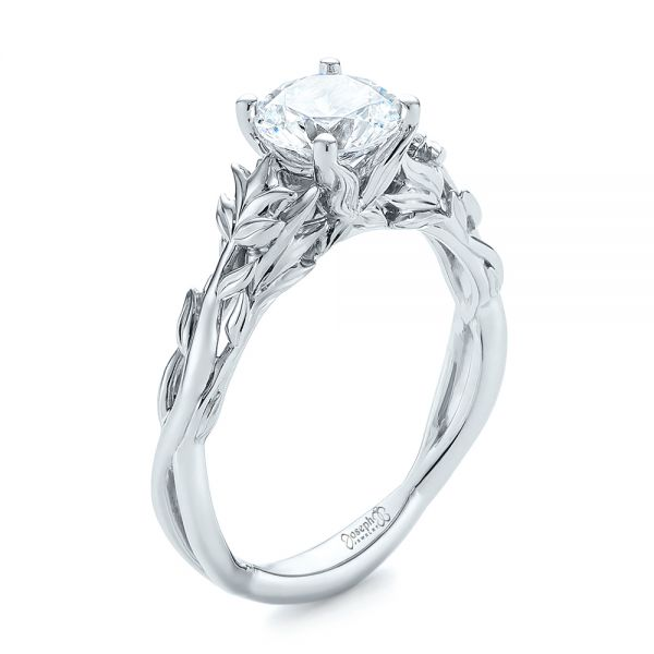 Floral Solitaire Diamond Engagement Ring - Image
