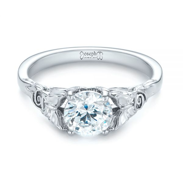 Floral Solitaire Diamond Engagement Ring - Flat View -  104122 - Thumbnail