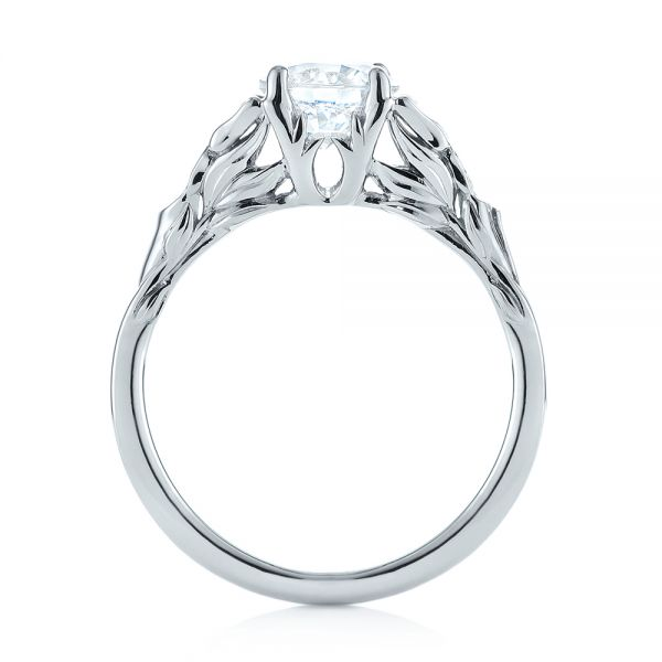 Floral Solitaire Diamond Engagement Ring - Front View -  104122 - Thumbnail