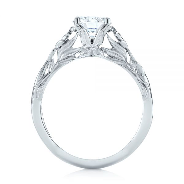 Floral Solitaire Diamond Engagement Ring - Front View -  104176 - Thumbnail