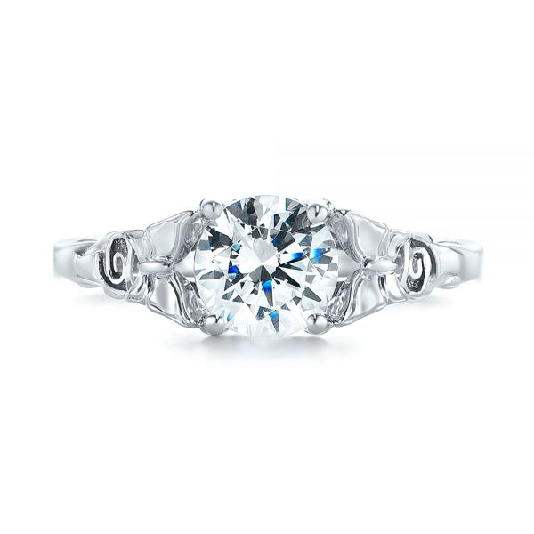 Floral Solitaire Diamond Engagement Ring - Top View -  104122 - Thumbnail