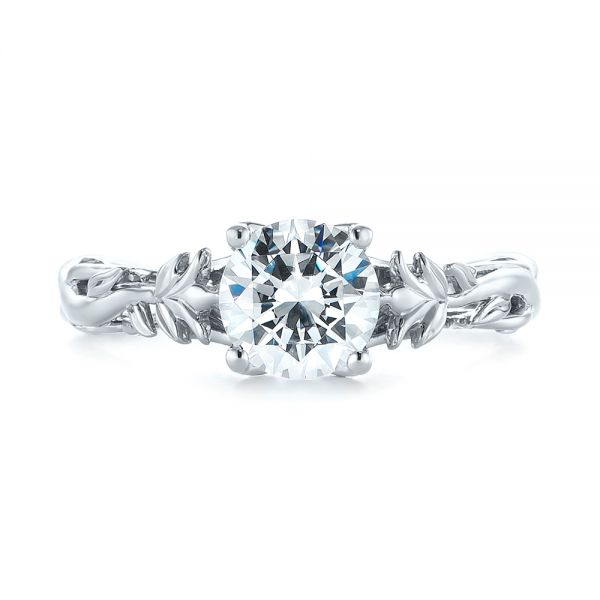 Floral Solitaire Diamond Engagement Ring - Top View -  104176 - Thumbnail