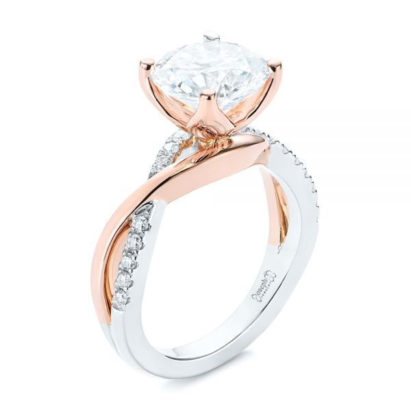 Floral Two-Tone Moissanite and Diamond Engagement Ring - Image