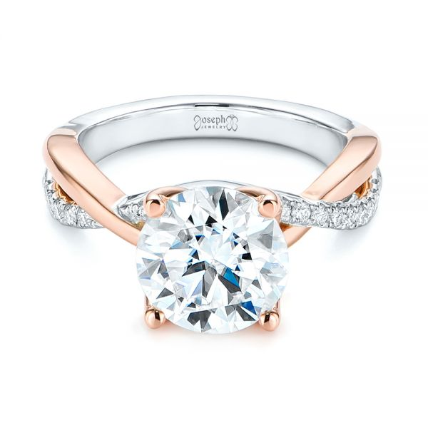 14k Rose Gold Floral Two-tone Moissanite And Diamond Engagement Ring - Flat View -  105163 - Thumbnail
