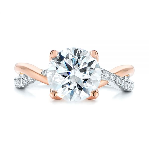 14k Rose Gold Floral Two-tone Moissanite And Diamond Engagement Ring - Top View -  105163 - Thumbnail