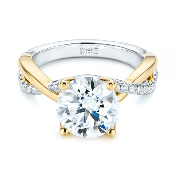 Floral Two-Tone Moissanite and Diamond Engagement Ring