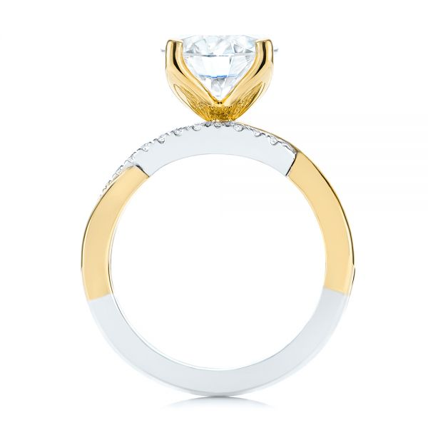 14K Yellow Gold Floral Two-Tone Moissanite and Diamond Engagement Ring - Front View -  105163 - Thumbnail