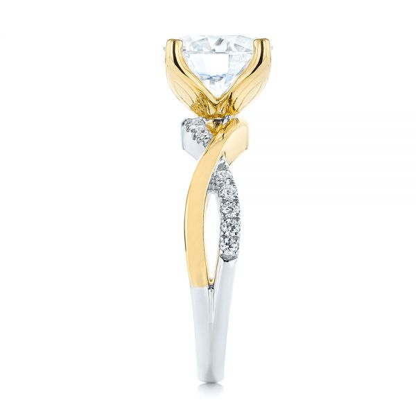 14K Yellow Gold Floral Two-Tone Moissanite and Diamond Engagement Ring - Side View -  105163 - Thumbnail