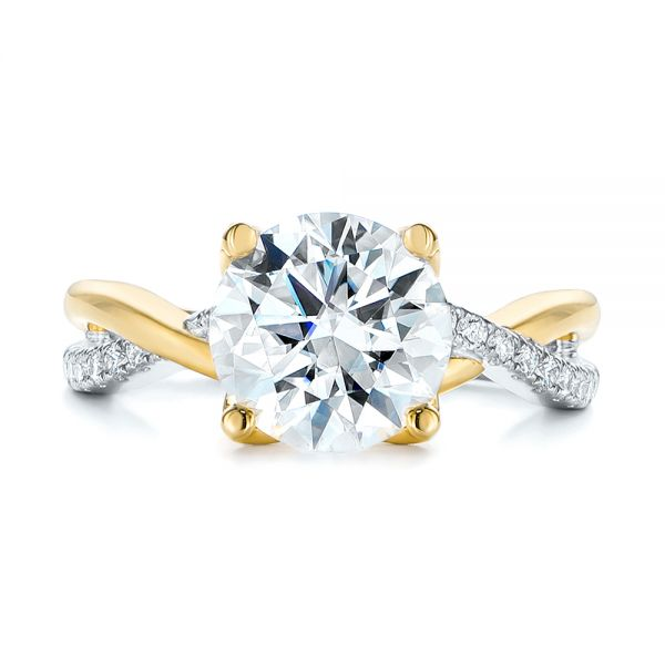 14K Yellow Gold Floral Two-Tone Moissanite and Diamond Engagement Ring - Top View -  105163 - Thumbnail