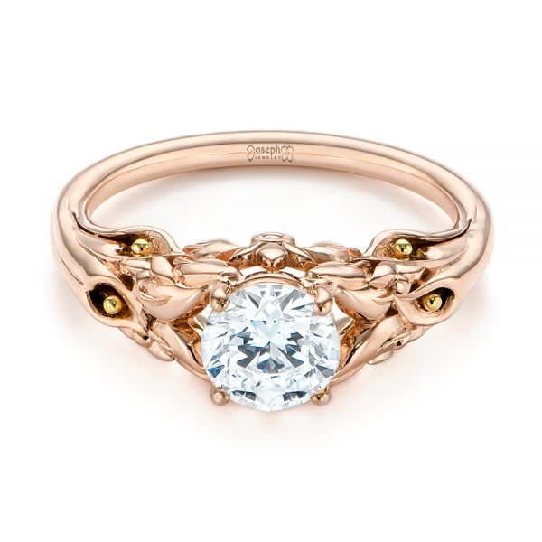 14k Rose Gold Floral Two-tone Diamond Engagement Ring - Flat View -  104089