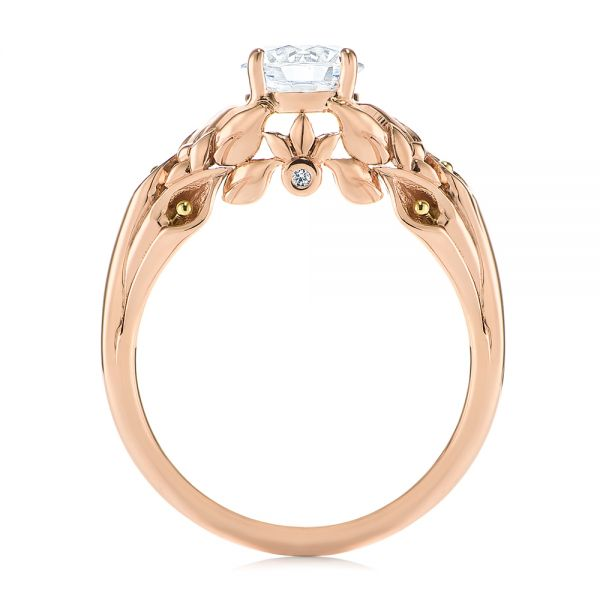 14k Rose Gold Floral Two-tone Diamond Engagement Ring - Front View -  104089