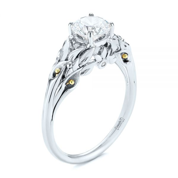 Floral Two-Tone Diamond Engagement Ring - Image