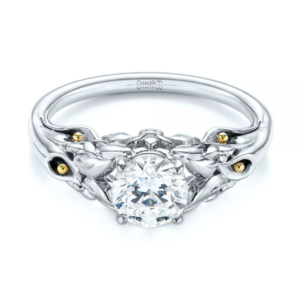14K White Gold Floral Two-Tone Diamond Engagement Ring - Flat View -  104089 - Thumbnail