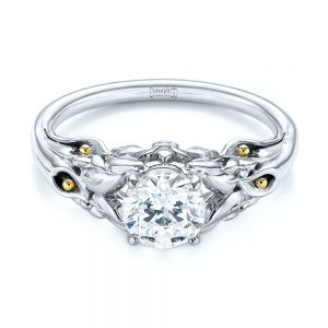 Floral Two-Tone Diamond Engagement Ring