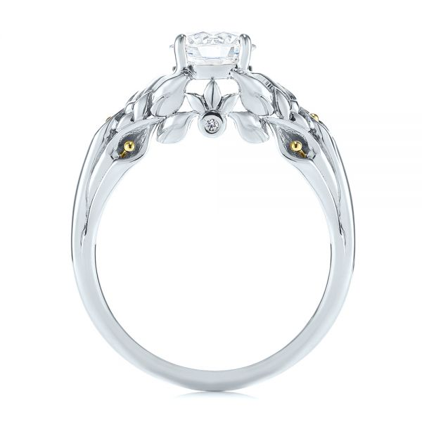 14K White Gold Floral Two-Tone Diamond Engagement Ring - Front View -  104089 - Thumbnail